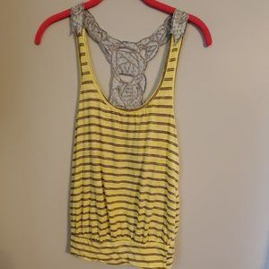 Free People Yellow Gray Boho Embroidered Back Tank